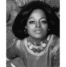 "Diana Ross Black and White Poster 24""x36"""