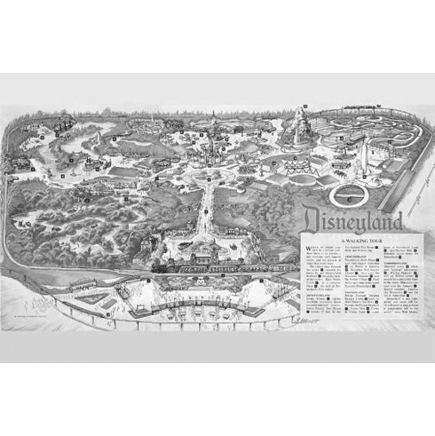"Disneyland Park Map Black and White Poster 24""x36"""