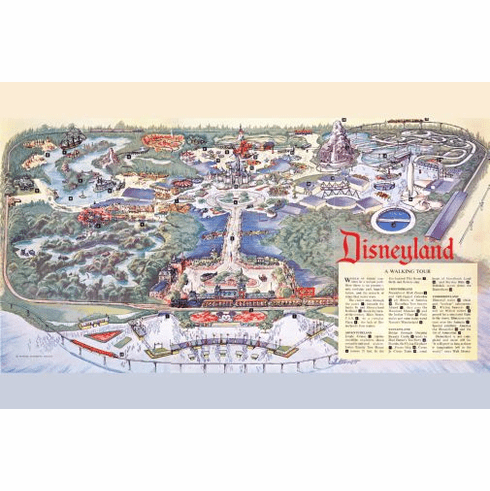 Disneyland Park Map Poster 24in x36in