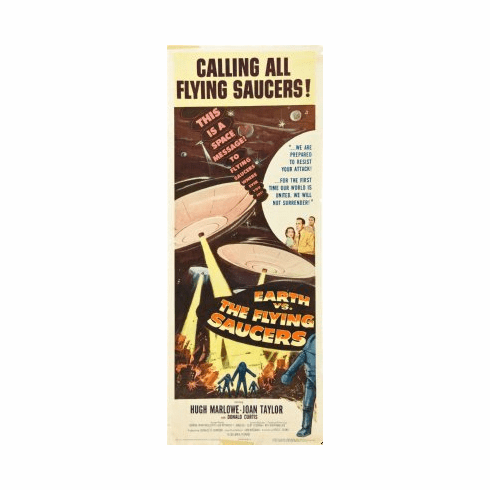Earth Vs The Flying Saucers Movie Poster Insert 14x36