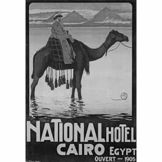 "Egypt Hotel Cairo 1905 Black and White Poster 24""x36"""