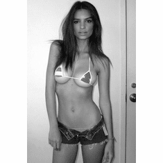 "Emily Ratajkowski Black and White Poster 24""x36"""