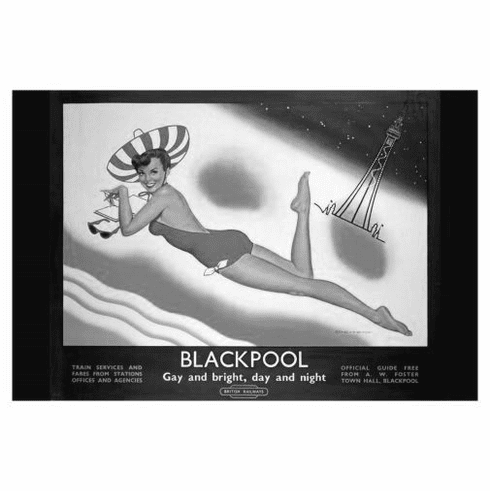 """England Blackpool Black and White Poster 24""""x36"""""""