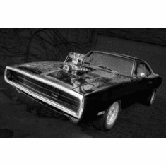 """Fast And The Furious 1970 Charger Black and White Poster 24""""x36"""""""