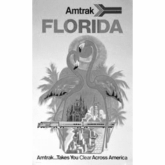 "Florida Amtrak Black and White Poster 24""x36"""