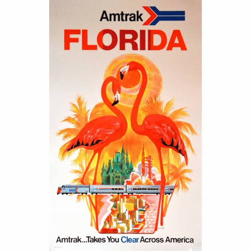 Florida Amtrak Poster 24in x36in