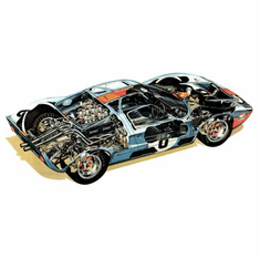 Ford Gt40 Cutaway Movie Poster 11Inx17In Mini Poster