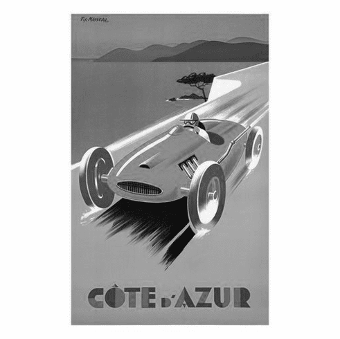 """France Cote D'Azur Black and White Poster 24""""x36"""""""