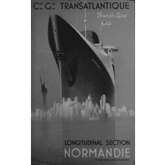 "France Cruise Line Black and White Poster 24""x36"""