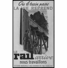 """French National Railways 1944 Black and White Poster 24""""x36"""""""