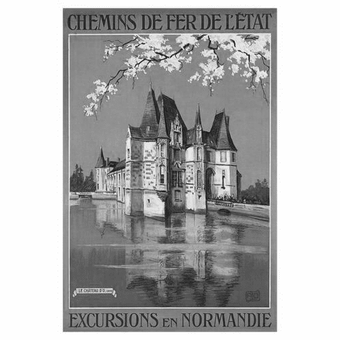 """French Railway Black and White Poster 24""""x36"""""""