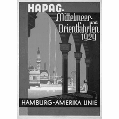 "Gemany Hapag Mittelmeer 1929 Black and White Poster 24""x36"""