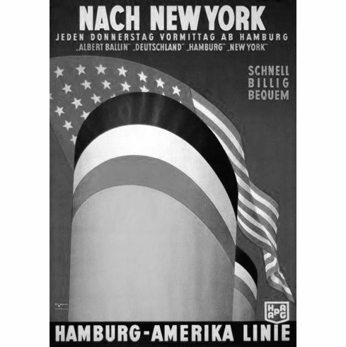 """German Cruise Line  Black and White Poster 24""""x36"""""""