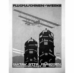 "German Flugmaschinen Werke Black and White Poster 24""x36"""