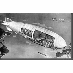 """Graf Zeppelin Cutaway Black and White Poster 24""""x36"""""""