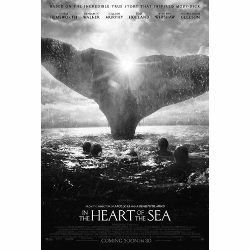 "Heart Of The Sea Black and White Poster 24""x36"""