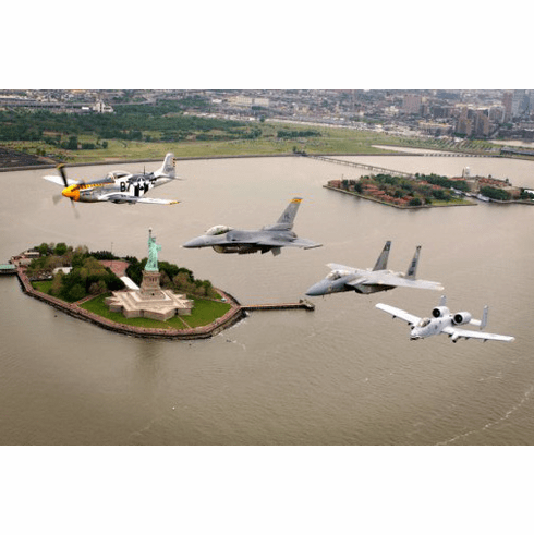 Heritage Flight Nyc Poster Warplanes Warbirds Military Aviation 24inx36in