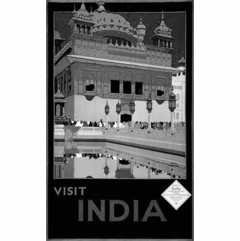 "India Tourism  Black and White Poster 24""x36"""
