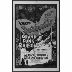 """Iron Butterfly Black and White Poster 24""""x36"""""""