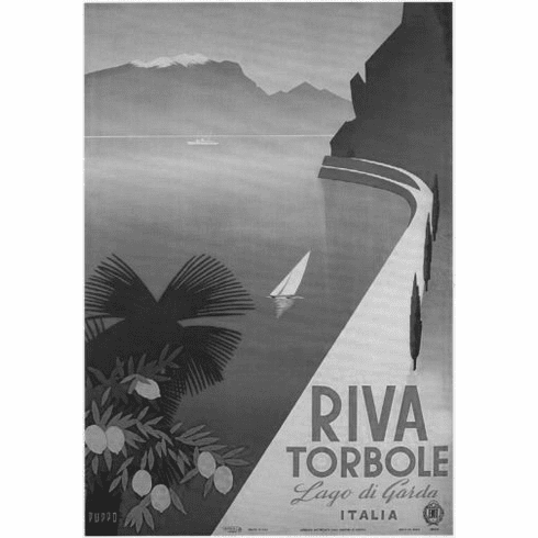 "Italism Tourism Black and White Poster 24""x36"""