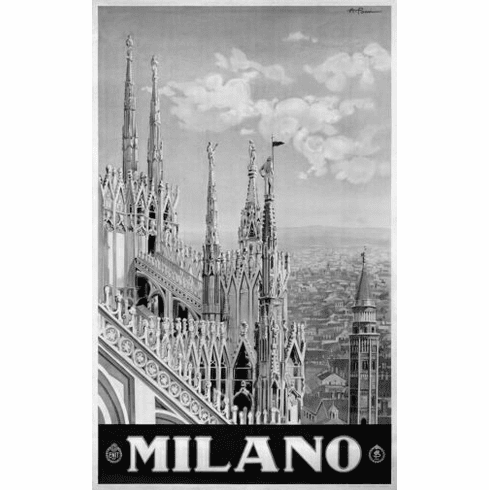 """Italy Milano 1920 Black and White Poster 24""""x36"""""""