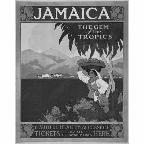 """Jamaica Black and White Poster 24""""x36"""""""