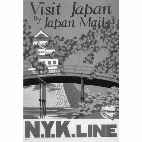"""Japan Nyk Line Black and White Poster 24""""x36"""""""