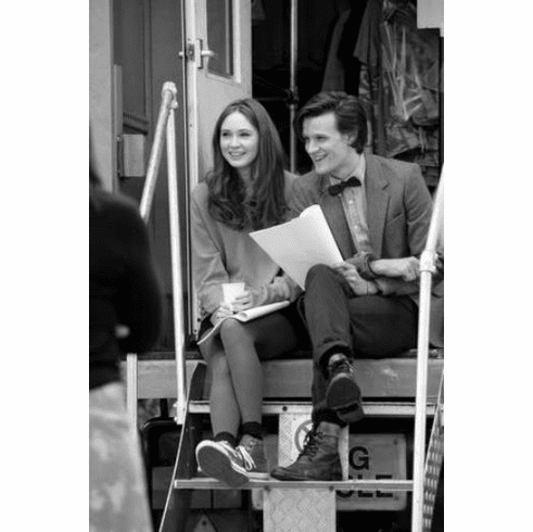 "Matt Smith Karen Gillan Dr. Who Black and White Poster 24""x36"""