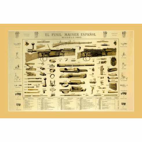 Mauser Espaniol 1893 Shotgun Firearm Art Poster 24inx36in Poster