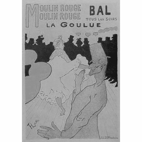 "Moulin Rouge Black and White Poster 24""x36"""