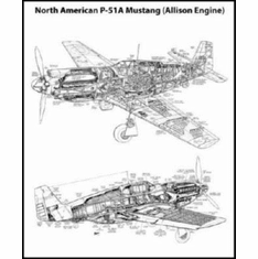 """Mustang P51 Cutaway Black and White Poster 24""""x36"""""""