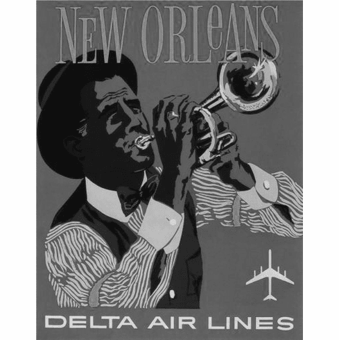 "New Orleans Black and White Poster 24""x36"""