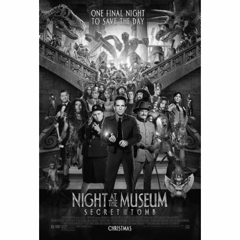 "Night At Museum Black and White Poster 24""x36"""