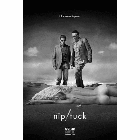 "Nip Tuck Black and White Poster 24""x36"""