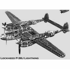 """P38J Cutaway Black and White Poster 24""""x36"""""""