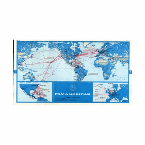 Pan Am 1968 Route Map Poster 24x36 #01