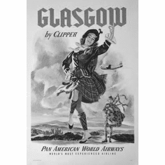 "Pan Am Airlines Glasgow Black and White Poster 24""x36"""