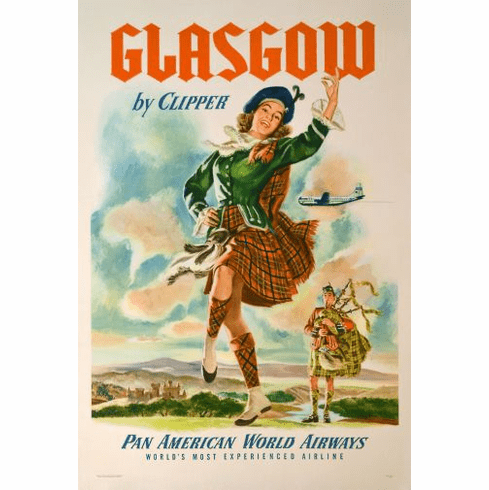 Pan Am Airlines Glasgow Poster 24in x36in