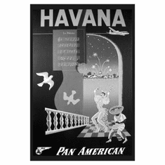 "Pan Am Airlines Havana Cuba Black and White Poster 24""x36"""