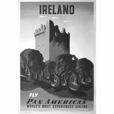 "Pan Am Airlines Ireland Black and White Poster 24""x36"""
