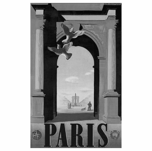 "Paris Black and White Poster 24""x36"""