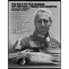 """Paul Newman Racing Black and White Poster 24""""x36"""""""