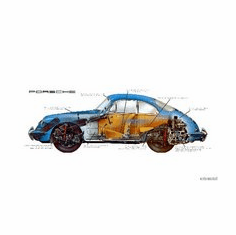 Porsche 356 Cutaway 8x10 photo