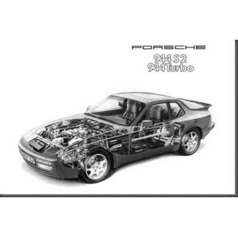 "Porsche 944 Cutaway Black and White Poster 24""x36"""