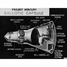Project Mercury Cutaway Art 8x10 photo Master Print