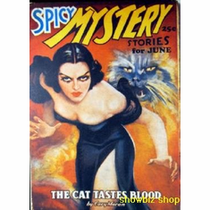 Pulp Novel Art Spicy Mystery Cat Tastes Blood 8x10 photo