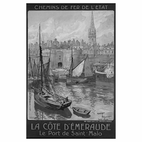 "Railways French France Black and White Poster 24""x36"""
