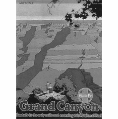 "Railways Santa Fe Grand Canyon Black and White Poster 24""x36"""