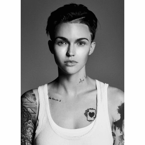 "Ruby Rose Black and White Poster 24""x36"""