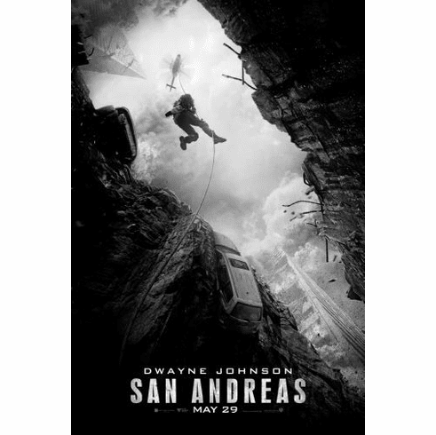 "San Andreas Black and White Poster 24""x36"""